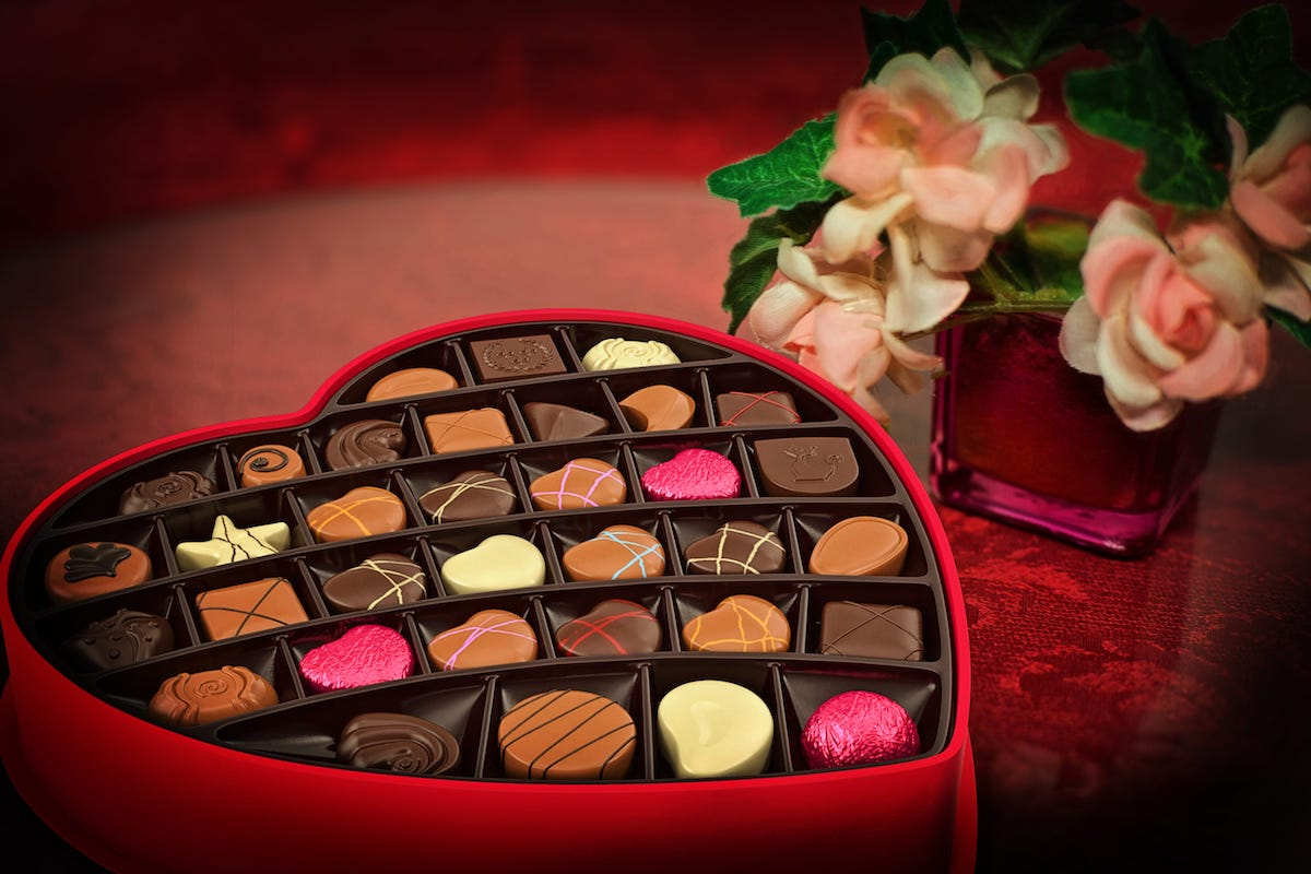 Image of a heart shaped box of chocolates