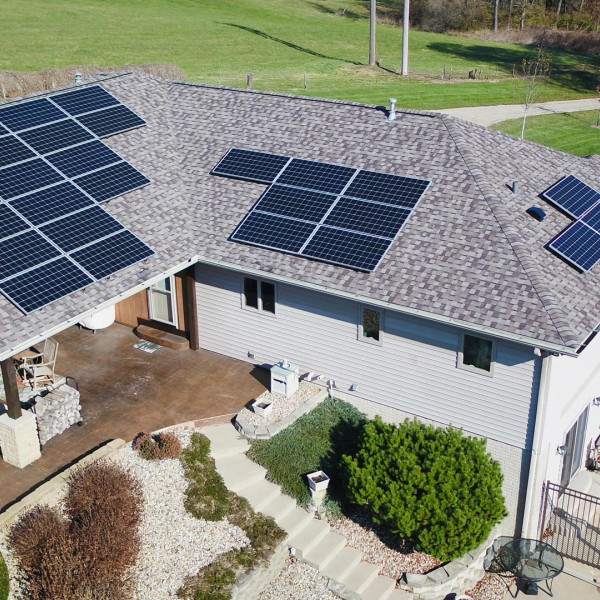 roof mount solar array on home