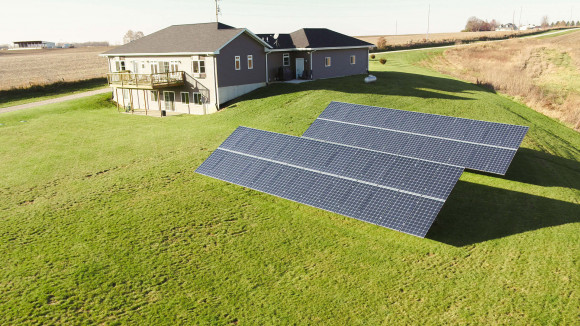 ground mount solar array and home