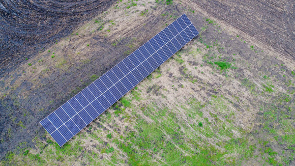 ground mount solar array aerial photograph