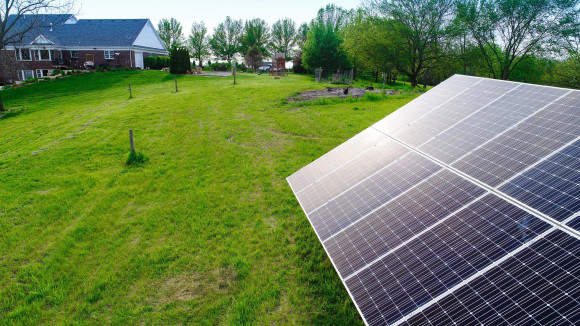 ground mount solar array on residential property