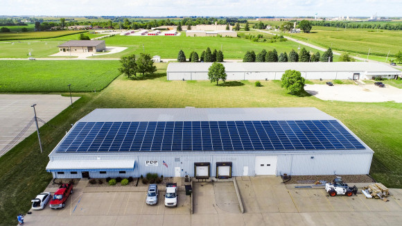 solar panels mounted on business